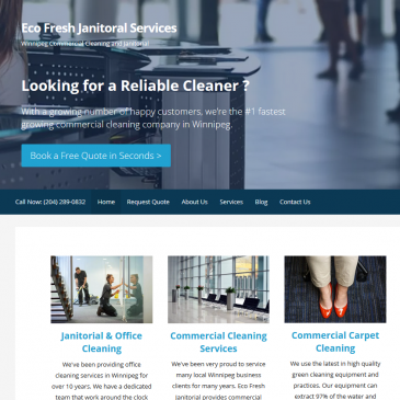 Eco Fresh Janitorial Cleaning web page